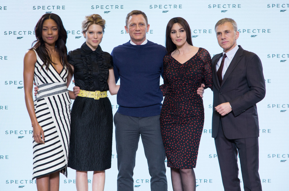 """Eon Productions, Metro-Goldwyn-Mayer and Sony Pictures Entertainment announce the 24th James Bond adventure """" SPECTRE. """" Pictured: (L to R) Naomie Harris, Léa Seydoux, Daniel Craig, Monica Bellucci and Christoph Waltz."""