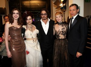 LONDON, ENGLAND - FEBRUARY 25:  (L-R) Actors Anne Hathaway, Helena Bonham Carter, Johnny Depp and Mia Wasikowska and President and CEO, The Walt Disney Company, Bob Iger, attend the Royal World Premiere of 'Alice In Wonderland' at Odeon Leicester Square on February 25, 2010 in London, England.  (Photo by Claire R Greenway/Getty Images for Disney) *** Local Caption *** Bob Iger;Mia Wasikowska;Anne Hathaway;Helena Bonham Carter;Johnny Depp